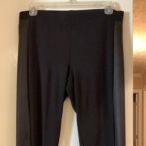 Black stretchy leggings with black pleather